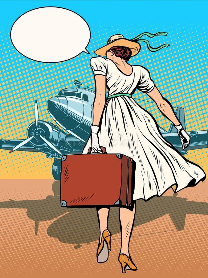 Avions de transport de passagers de Madame avec le bagage illustration libre de droits