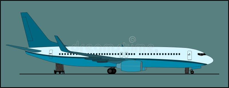 Avions de transport de passagers sur le rampe illustration stock