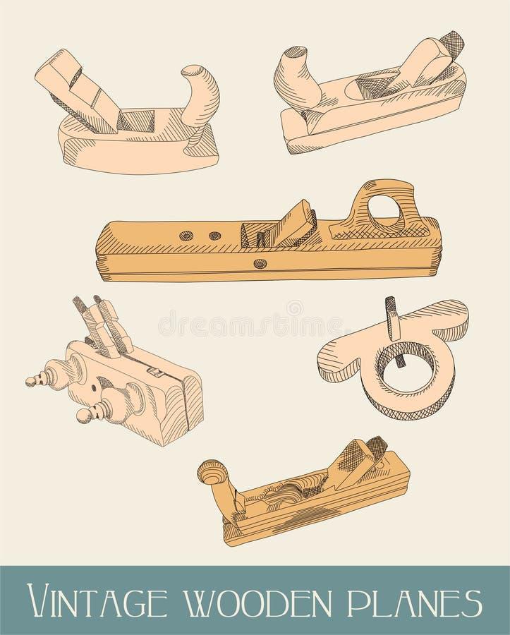 Avions en bois de cru - illustration illustration de vecteur