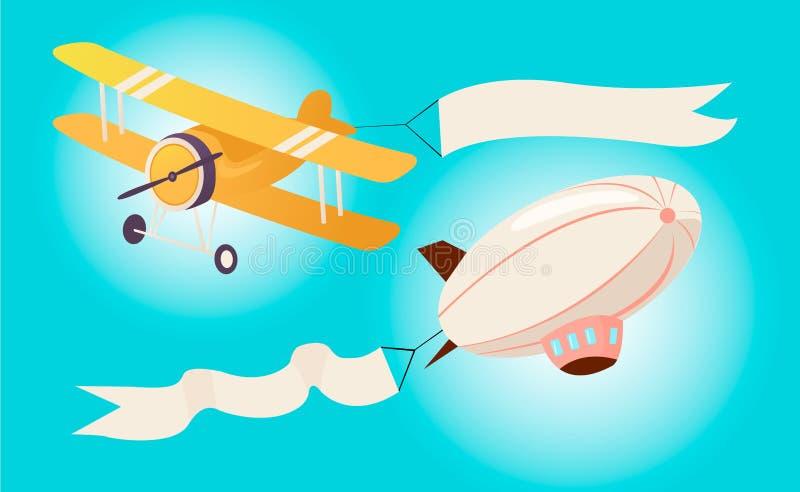Avions et hélicoptères volants illustration libre de droits