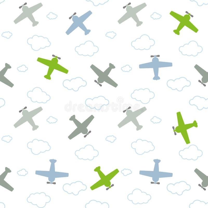 Avions et nuages colorés sans couture de modèle du ` s d'enfants illustration libre de droits