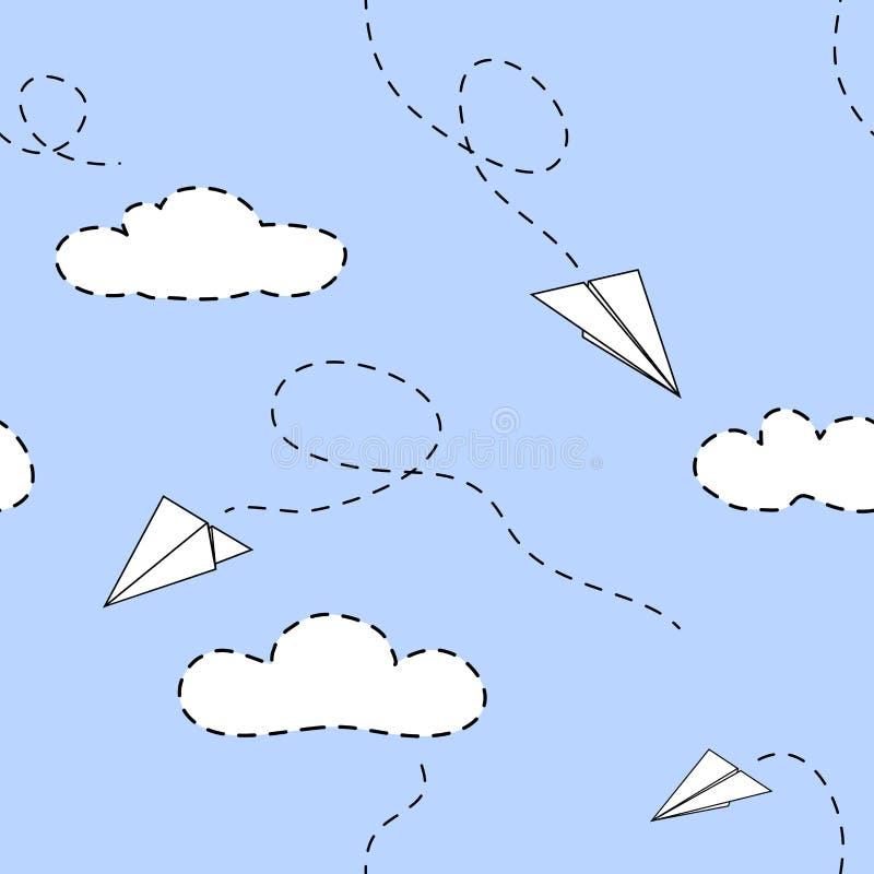 Avions et nuages de papier Utilisable pour des enfants Configuration sans joint de vecteur illustration stock