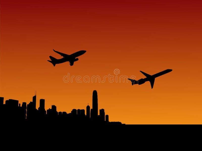Avions Hong Kong de départ illustration de vecteur