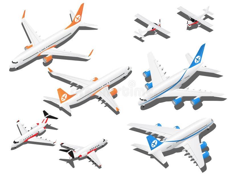 Avions isométriques réglés Jet privé, 2 avions de passagers réactifs et petit avion avec le propulseur illustration stock