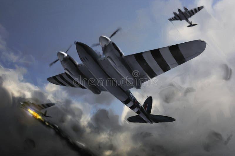 Avions (moustique) sous l'incendie. images stock
