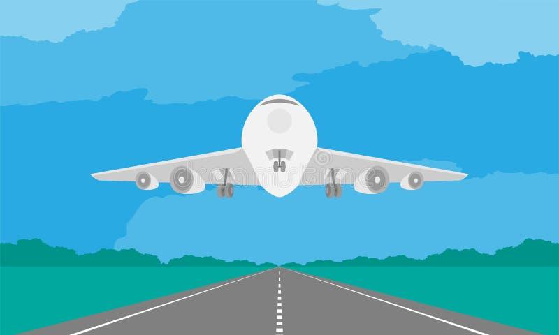 Avions ou atterrissage ou décollage d'avion sur la piste dans l'illustration de jour sur le ciel bleu illustration libre de droits