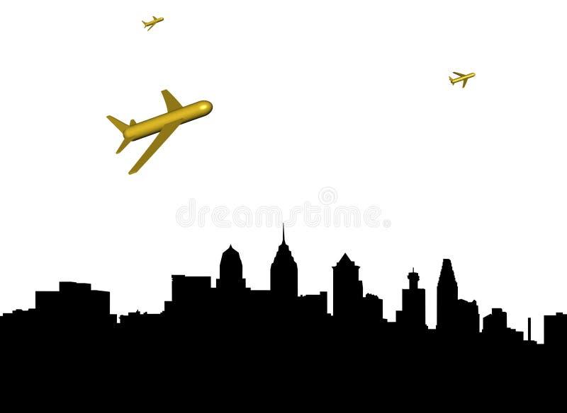 Avions Philadelphie de départ illustration stock