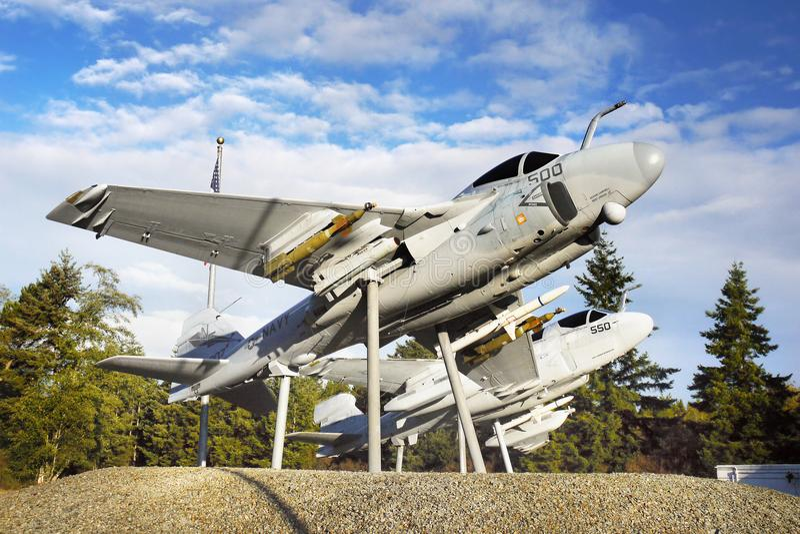 Avions, port de chêne, île de Whidbey, Washington photographie stock