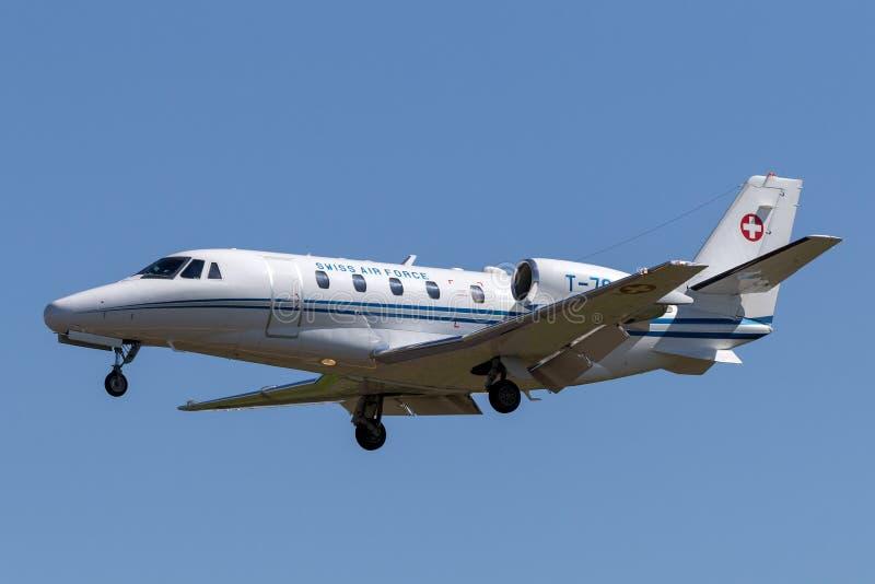 Avions suisses T-784 d'avion d'affaires d'Excel de citation de Cessna 560XL de l'Armée de l'Air images libres de droits