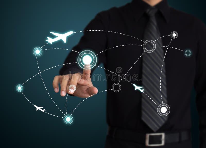 Avions sur leurs itinéraires de destination. photo stock