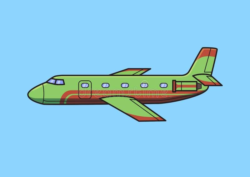 Avions verts d'avion d'affaires, avion Illustration plate de vecteur D'isolement sur le fond bleu illustration libre de droits