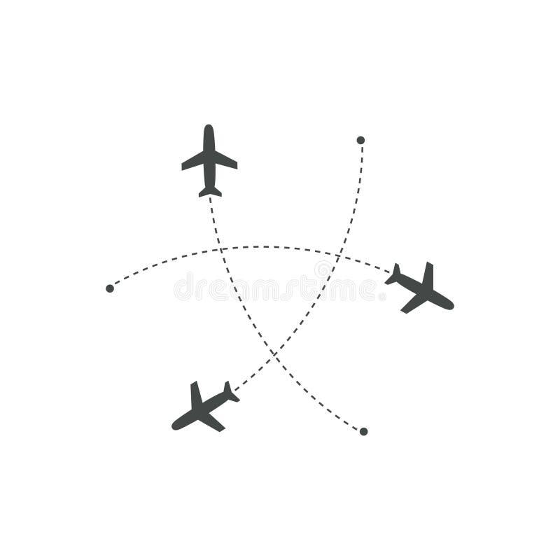 Avions volant avec la trace dans différentes directions en cercle d'un point Carte d'abrégé sur aéroport Icône de départ plat illustration de vecteur