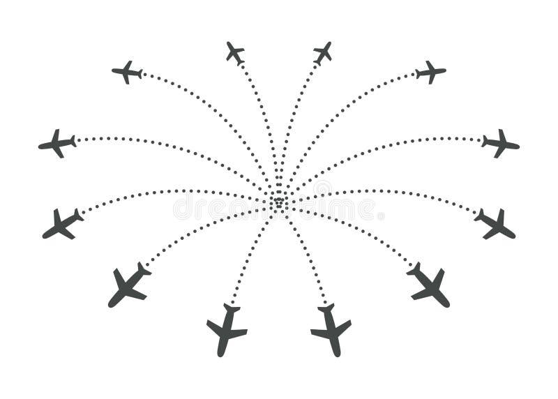 Avions volant avec la trace dans différentes directions en cercle d'un point Carte d'abrégé sur aéroport Icône de départ plat illustration libre de droits
