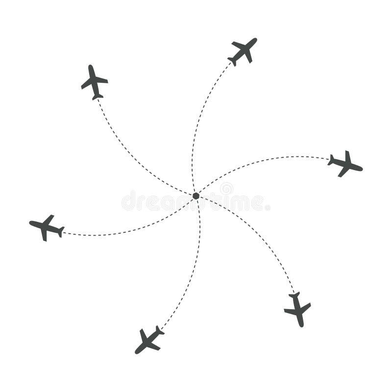 Avions volant avec la trace dans différentes directions en cercle d'un point Carte d'abrégé sur aéroport Icône de départ plat illustration stock