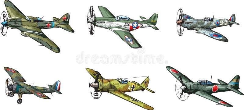 Avions WW2 illustration libre de droits
