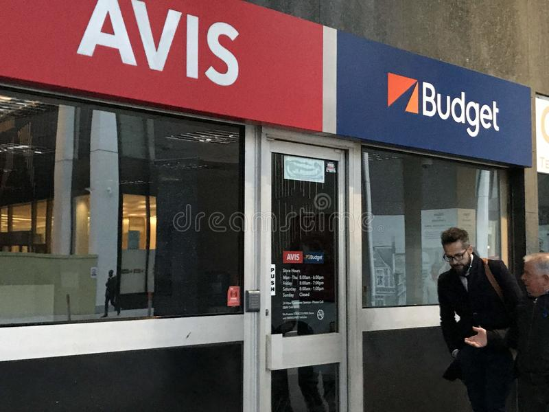 Avis Budget store, London. Avis Budget Group, Inc. is the American parent company of Avis Car Rental, Budget Car Rental, Budget Truck Rental, Payless Car Rental royalty free stock photos