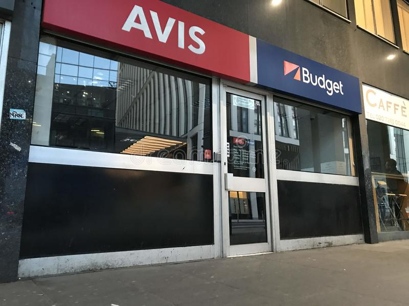 Avis Budget store, London. Avis Budget Group, Inc. is the American parent company of Avis Car Rental, Budget Car Rental, Budget Truck Rental, Payless Car Rental stock images