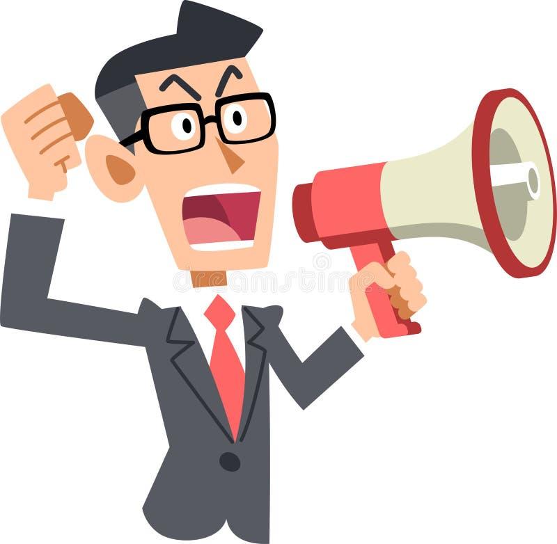 Avis de communication d'un homme d'affaires avec un haut-parleur illustration libre de droits