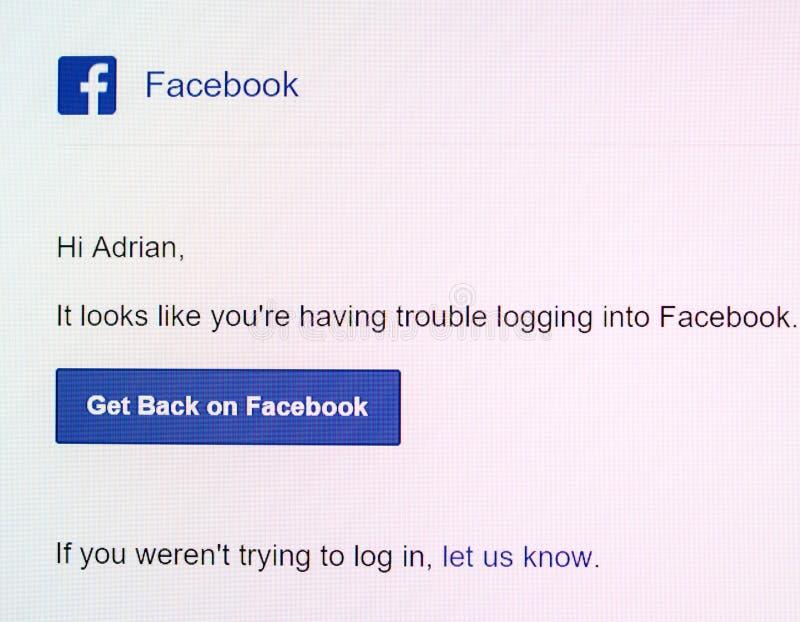Avis de Facebook sur l'affichage numérique avec le message image libre de droits