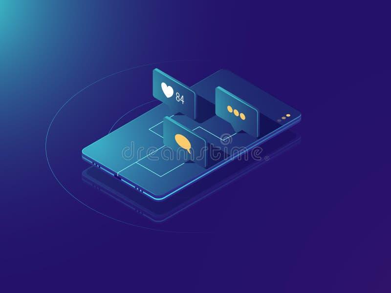 Avis de message de revenu de téléphone portable, concept social de réseau de media, commentaires et comme des icônes, néon isomét illustration stock