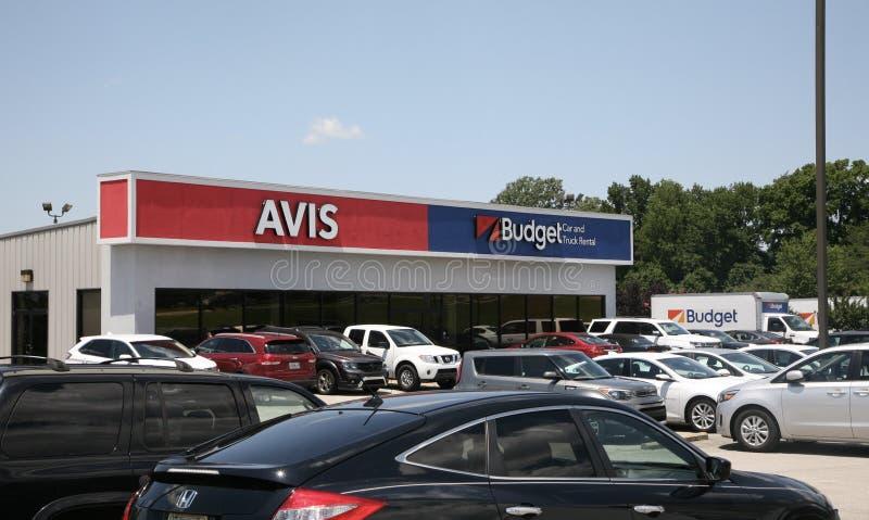 Avis en Begroting Car Rental Company royalty-vrije stock afbeeldingen