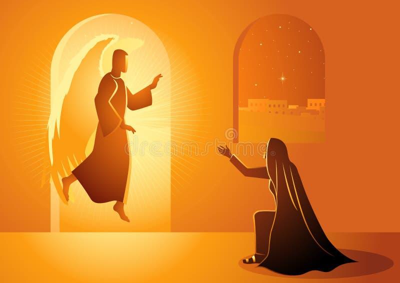 Aviso à Virgem Maria abençoada ilustração royalty free