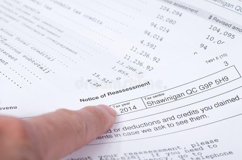 Aviso canadiense del impuesto de la nueva valoración fotografía de archivo libre de regalías