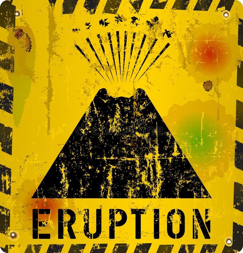 Aviso da erupção do vulcão ilustração royalty free
