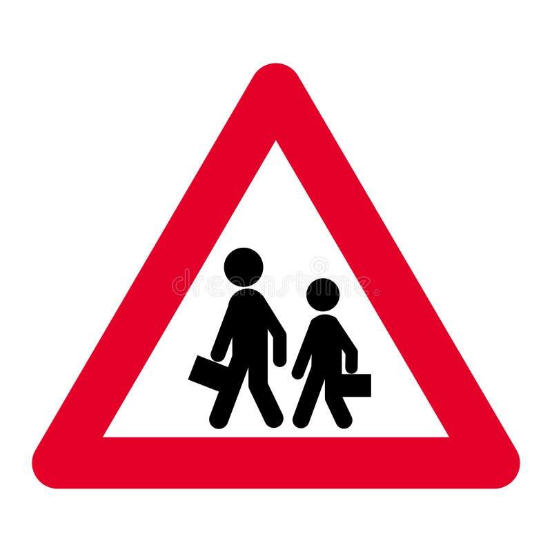 Aviso da escola ou sinal de estrada de cruzamento fotografia de stock