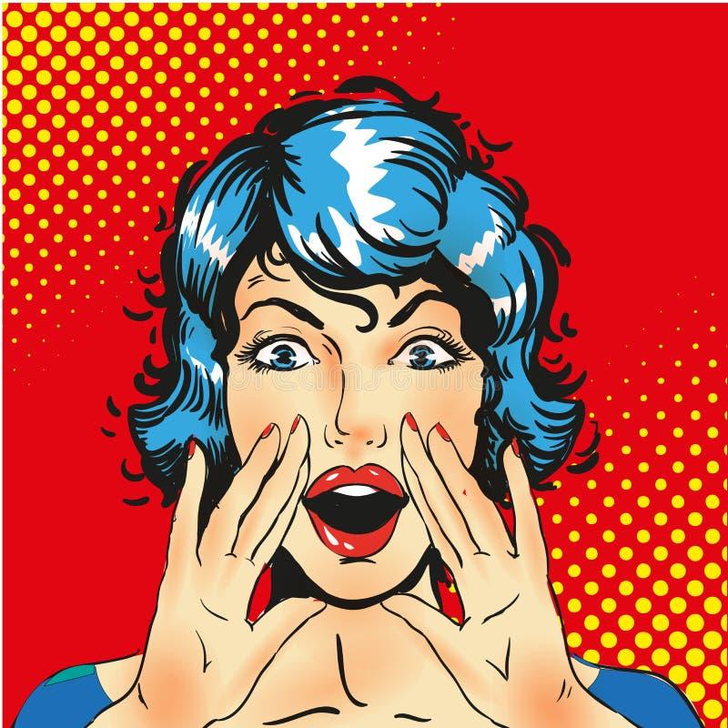 Aviso de griterío de la mujer Fondo del vector libre illustration