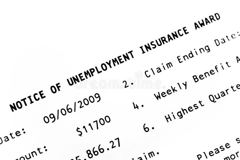 Aviso de la concesión del desempleo foto de archivo libre de regalías