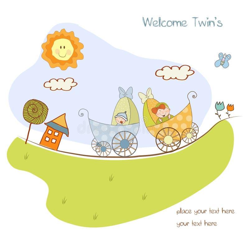 aviso de la ducha de los gemelos del bebé stock de ilustración