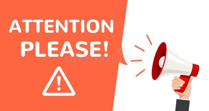 Aviso de la información de vector del megáfono de la atención Cartel alerta importante de la atención por favor libre illustration