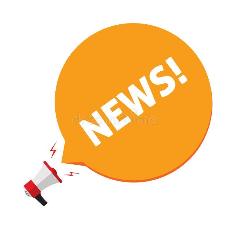Aviso de noticias vía el ejemplo del vector del megáfono, el megáfono plano de la historieta y el texto de las noticias en discur stock de ilustración