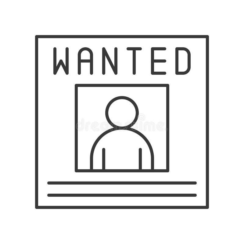 Aviso del cartel querido, movimiento editable del icono relacionado de la policía stock de ilustración