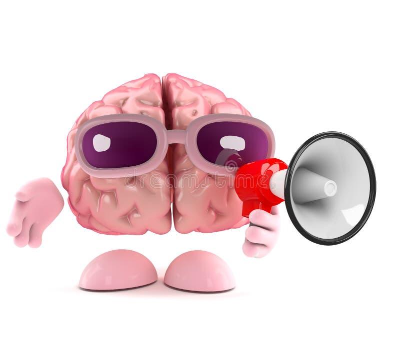 aviso del cerebro 3d ilustración del vector