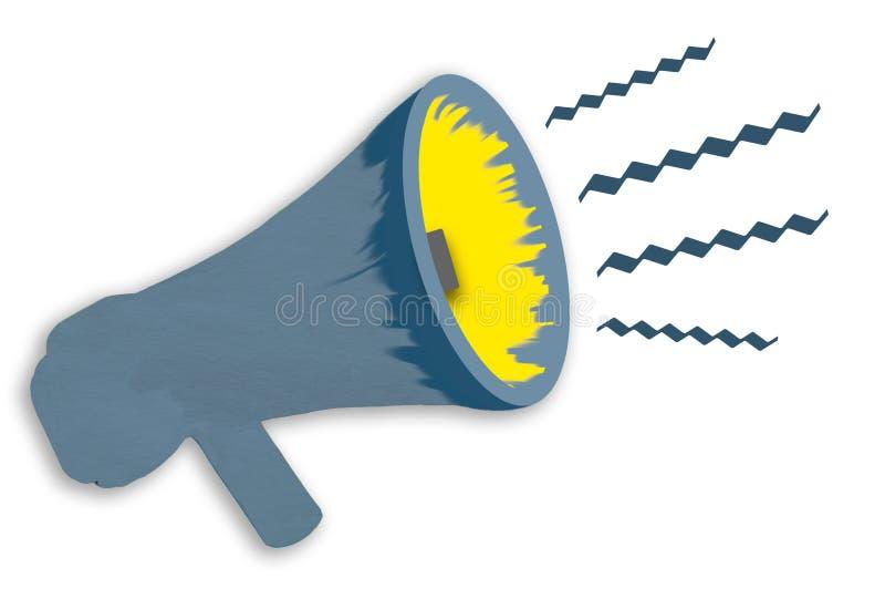 Aviso del mensaje importante de un megáfono stock de ilustración