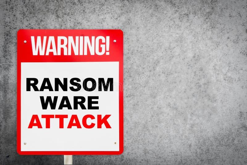 Aviso do ataque de Ransomware no concreto foto de stock
