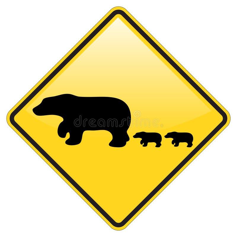 Aviso do cruzamento do urso ilustração stock