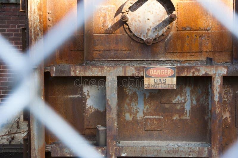Aviso do gás do parque industrial imagens de stock