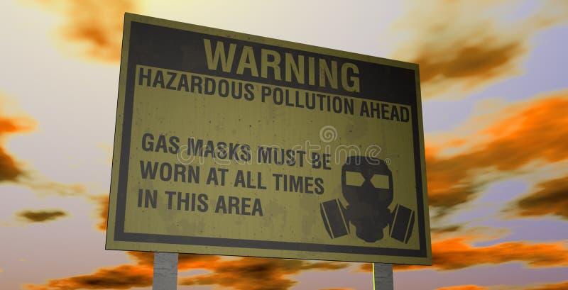Aviso perigoso da poluição ilustração stock