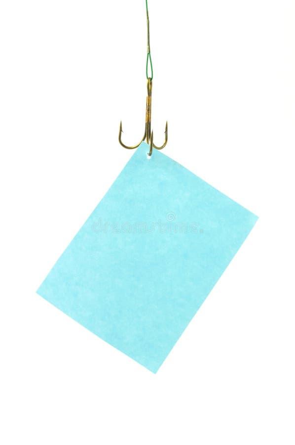 Aviso que cuelga en el gancho de leva fotografía de archivo libre de regalías