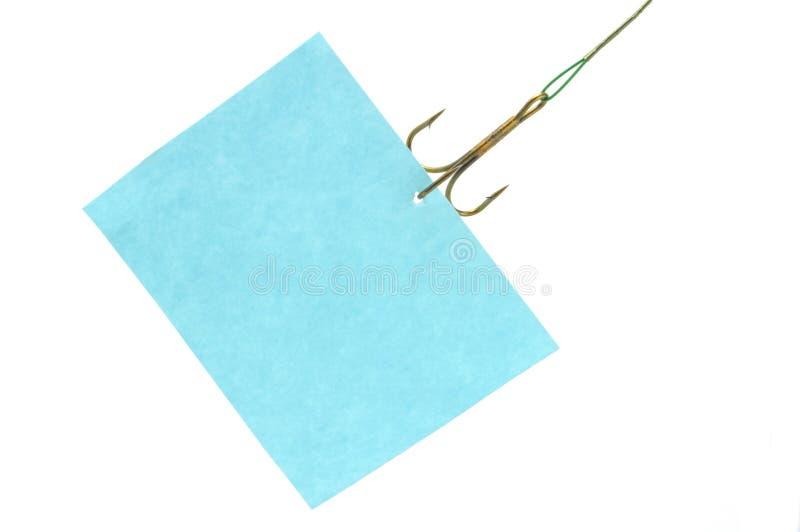 Aviso que cuelga en el gancho de leva imágenes de archivo libres de regalías