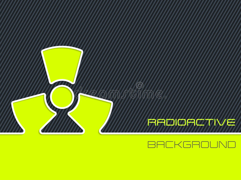 Aviso radioativo com fundo listrado ilustração do vetor