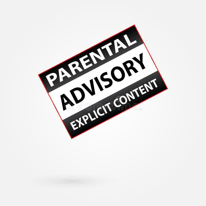 Aviso satisfeito explícito consultivo parental ilustração stock