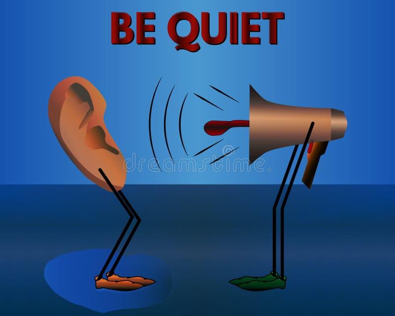 Aviso: Seja quieto Desenhos animados do vetor ilustração do vetor