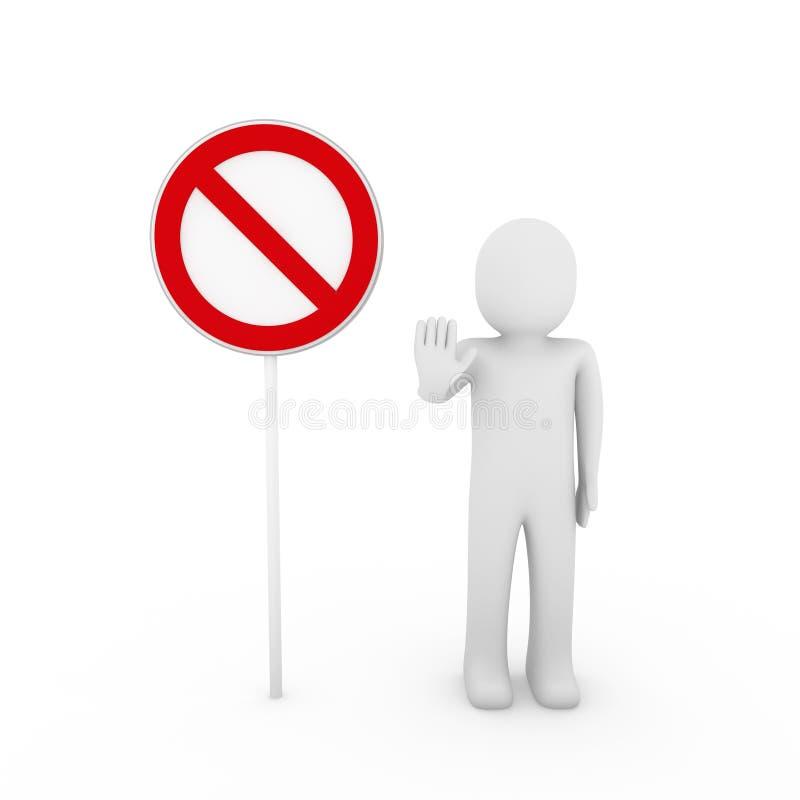 aviso vermelho do branco do sinal do batente 3d humano ilustração stock