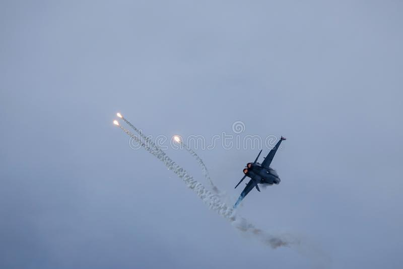 Avispón de McDonnell Douglas F-18, caza a reacción multiusos del combate fotos de archivo libres de regalías