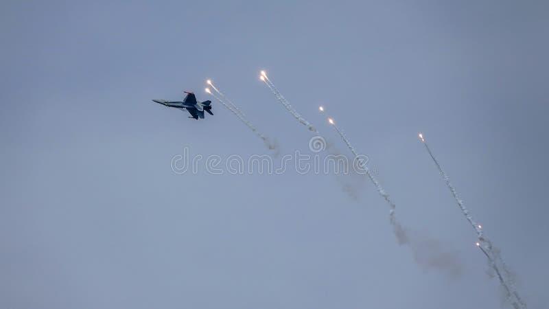 Avispón de McDonnell Douglas F-18, caza a reacción multiusos del combate fotos de archivo