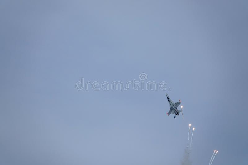 Avispón de McDonnell Douglas F-18, caza a reacción multiusos del combate imagen de archivo libre de regalías